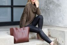 With black leather skinny pants and big tote