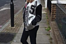 With black skinnies and white sneakers