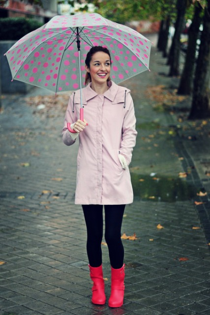 Rainy day outfit with bright pink mid calf boots and black leggings