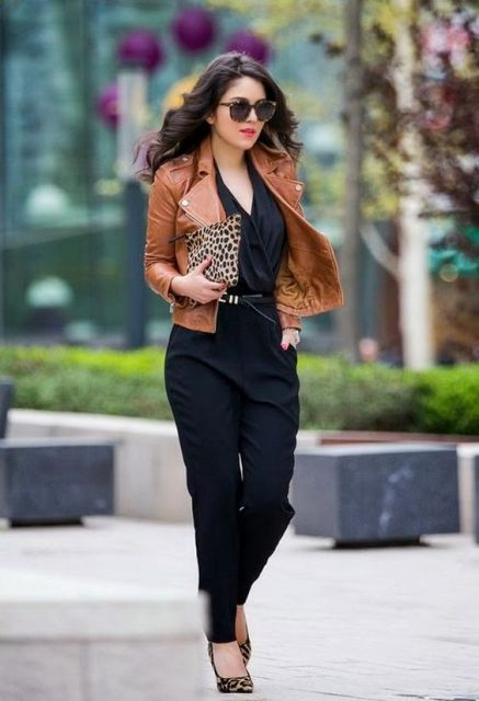 With brown leather jacket, leopard shoes and clutch