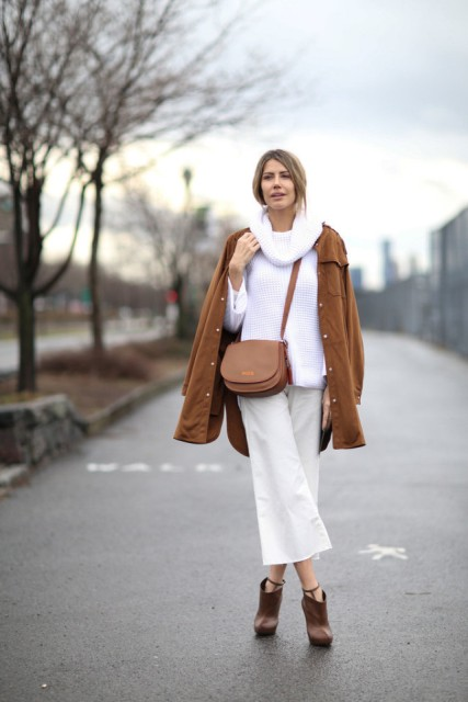 With brown suede coat and white culottes