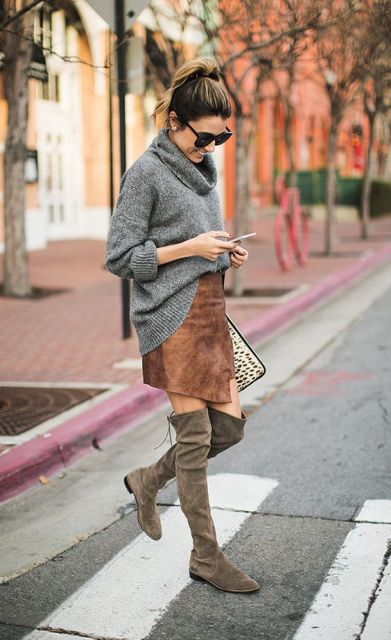With brown suede skirt and gray suede over the knee boots