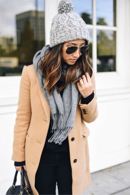 Picture Of With camel coat and gray scarf