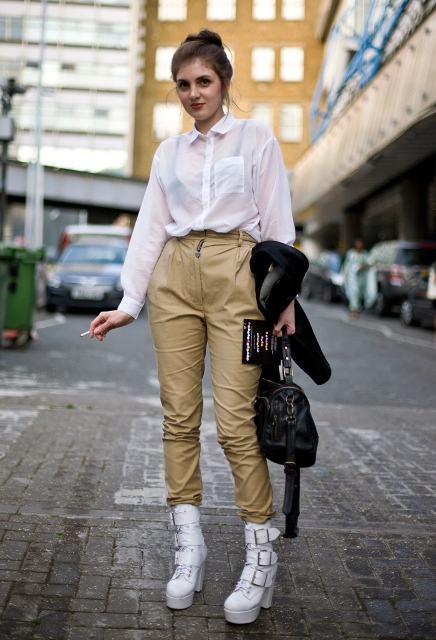 22 feminine outfit ideas with white boots  styleoholic