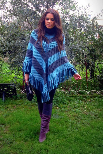 With colored poncho and jeans