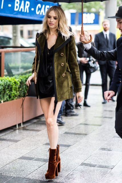 With corduroy mini coat and black dress