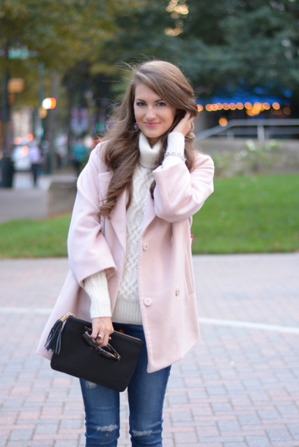 24 Gentle Light Pink Coat Outfits | Chic Styles