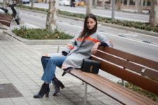 With crop jeans and two color coat