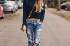 With crop sweater, distressed jeans and crossbody bag
