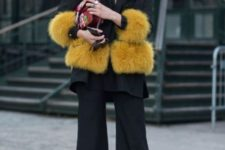 With culottes and jacket with fur