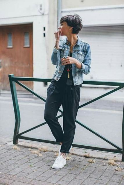 With denim jacket and white sneakers