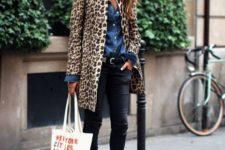 With denim shirt, black pants and leopard coat