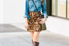 With denim shirt, lace up boots and crossbody bag