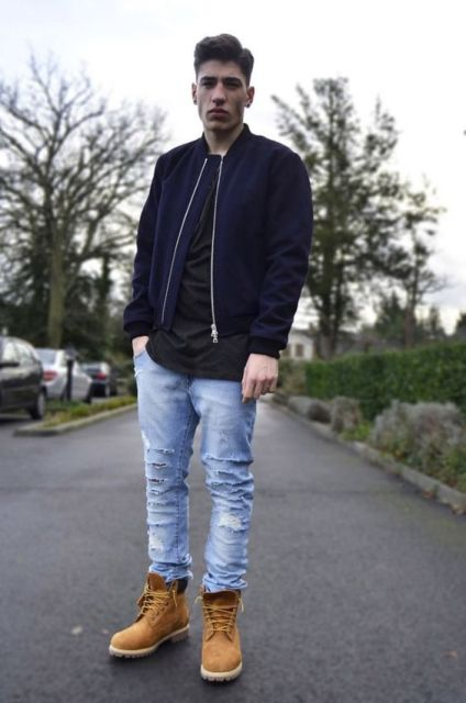 Distressed brown leather jackets for men