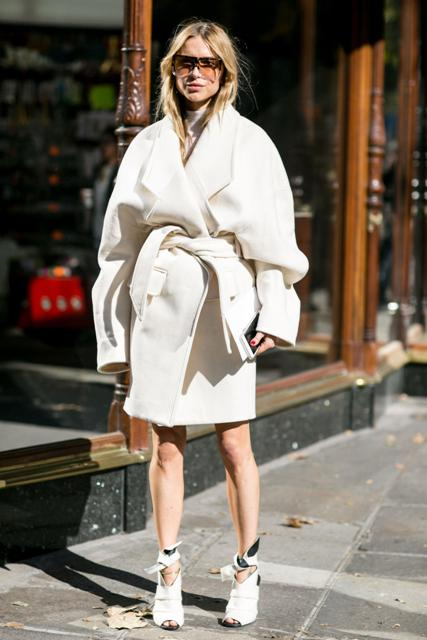 With dress and oversized wrap coat