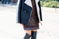 With embellished mini dress and over the knee leather boots
