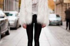 With fur short coat, leggings and pumps