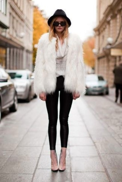 With fur short coat, leggings and pumps
