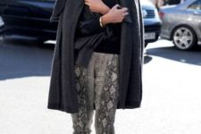 With gray coat, scarf and loafers