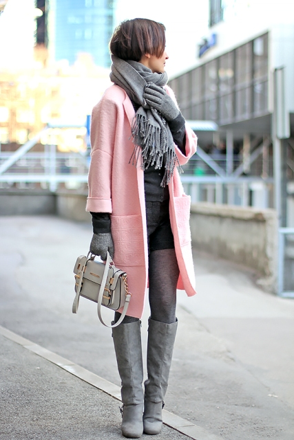 With gray scarf, gloves and gray boots