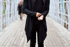 With hooded coat, black shirt and pants