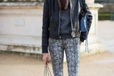 With hooded sweatshirt, boots and jacket