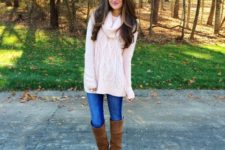 With jeans and brown suede boots