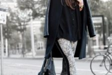 With knee-length coat, loose black blouse and pumps
