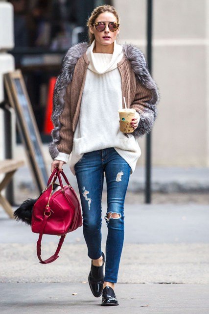 With knitted jacket with fur decor and distressed jeans