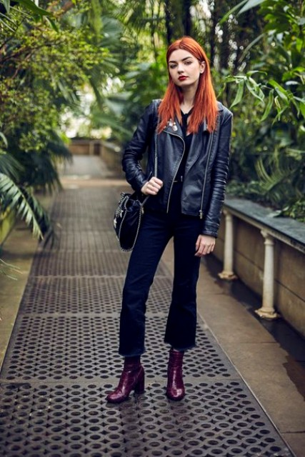 With leather balck jacket, crop pants and bag