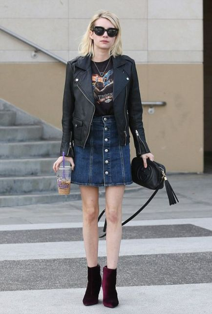 With leather jacket and mini denim skirt