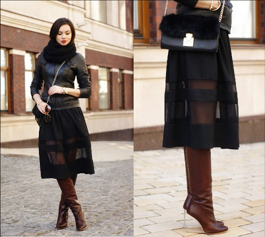 With leather jacket, black scarf, sheer skirt and chain strap bag