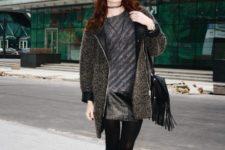 With leather mini skirt, mini coat, hat and fringe bag