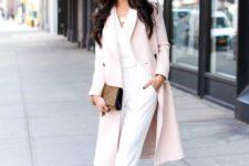 With light pink midi coat