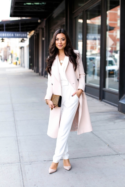 With light pink midi coat