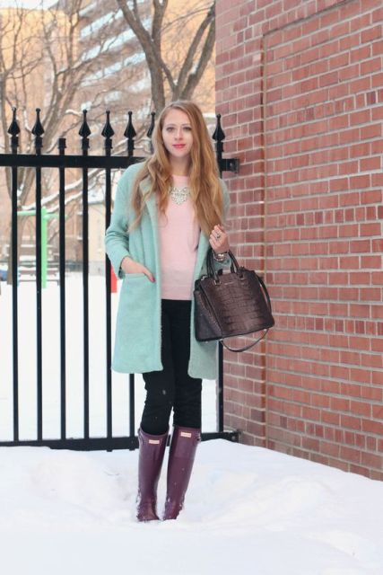 With light pink shirt, mint coat and black pants