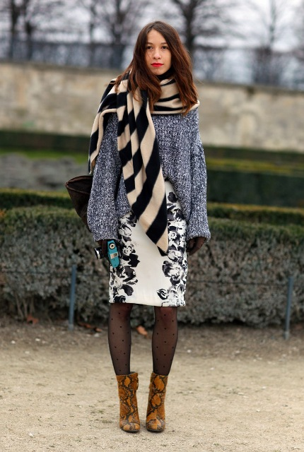 With loose sweater, oversized scarf and printed dress