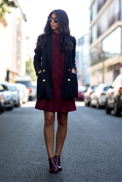 With marsala dress and black blazer