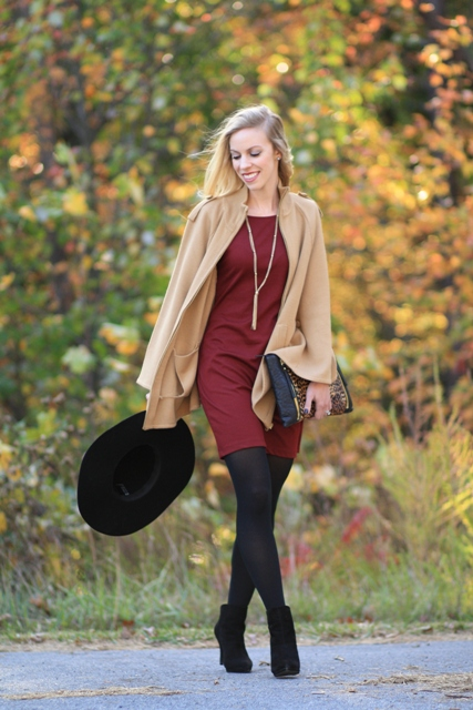 With marsala mini dress, camel blazer and black hat