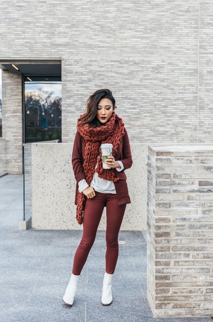 With marsala pants, white shirt, marsala jacket and oversized scarf
