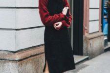 With marsala sweatshirt and black knee-length dress