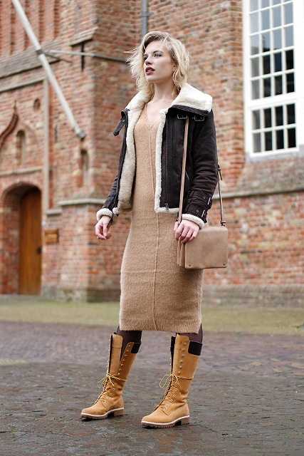 With midi dress and shearling jacket