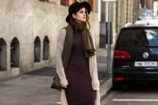With midi dress, long cardigan and wide brim hat