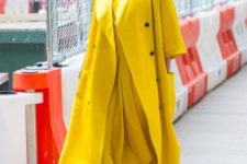 With midi yellow dress and neutral heels
