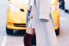 With mini dress and knee-length coat