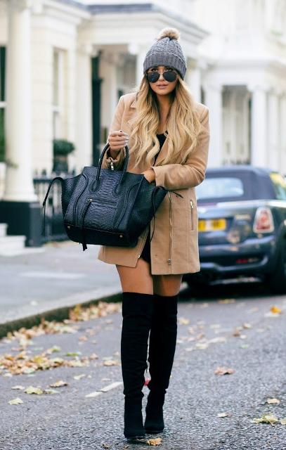 With mini dress, mini coat and beanie