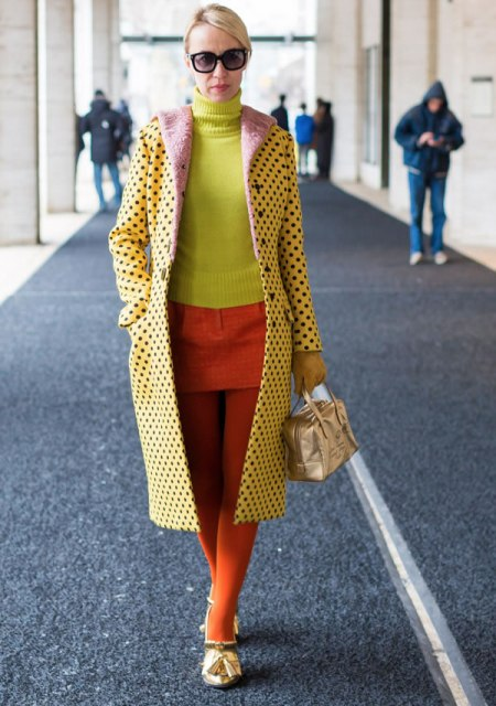 With neon turtleneck, orange skirt and tights
