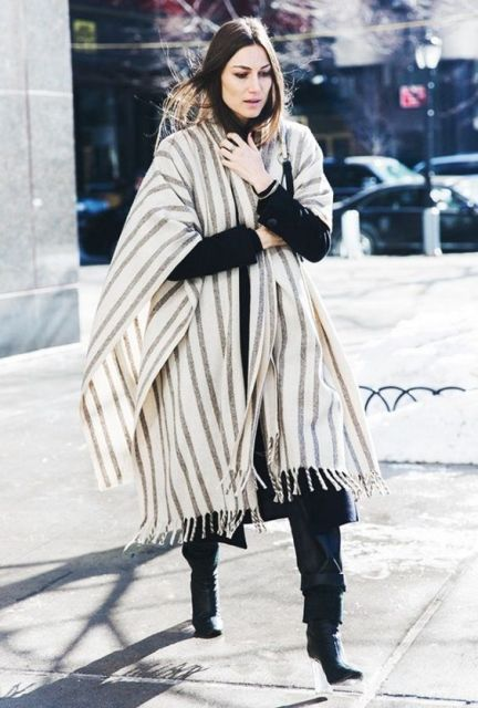 With oversized striped scarf, coat and trousers