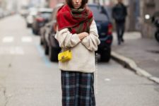 With oversized sweater, midi skirt and oversized scarf