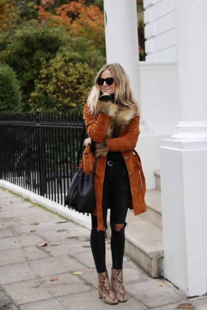 With pants, coat with fur collar and black bag